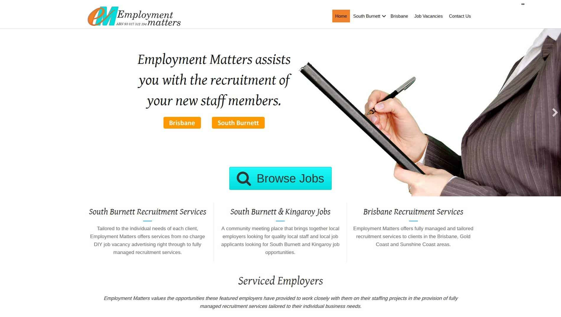 Employment Matters website home page - Design & development by Impulse Impressions